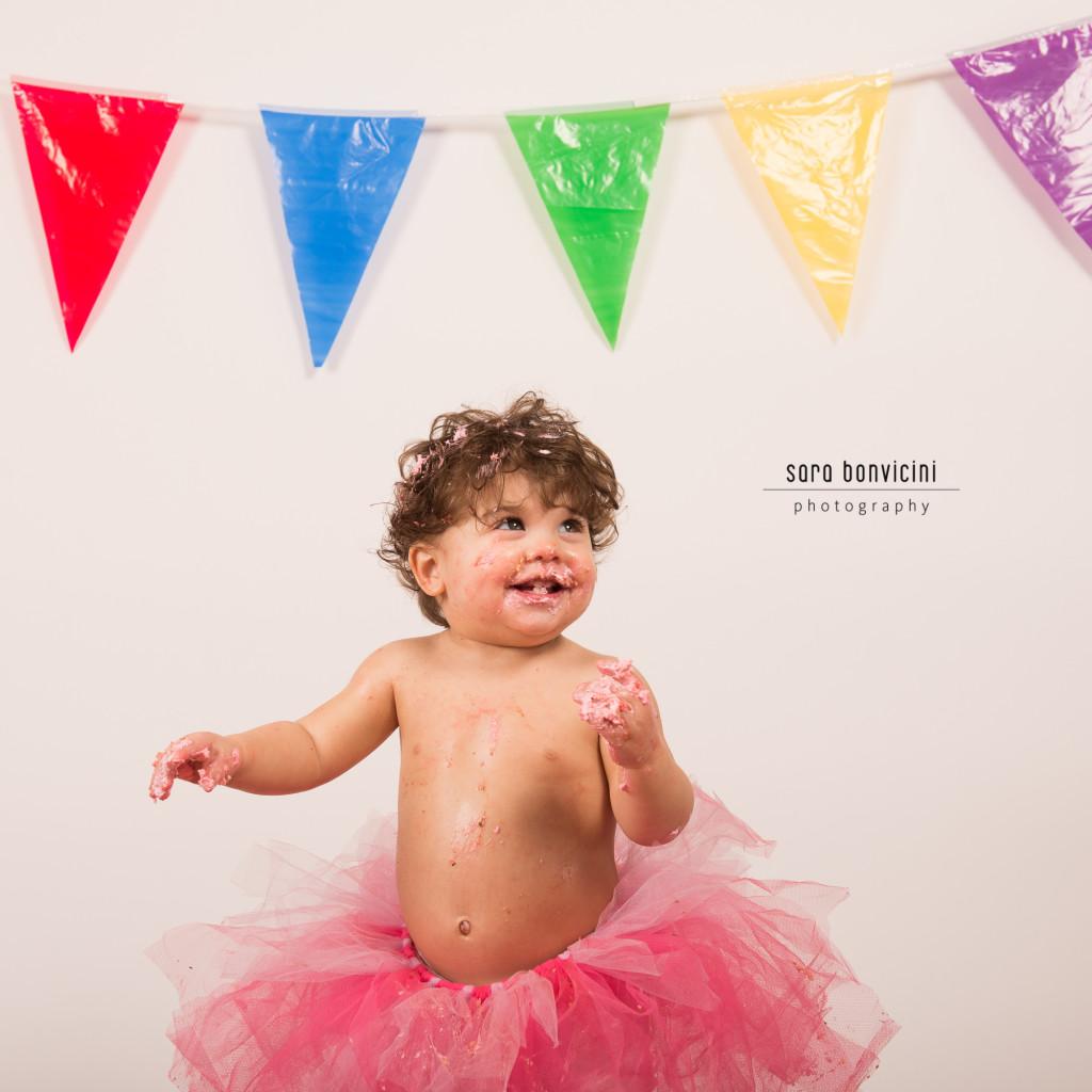 smash cake | alice 1 anno_fotografo bambini a rimini _Sara Bonvicini 16